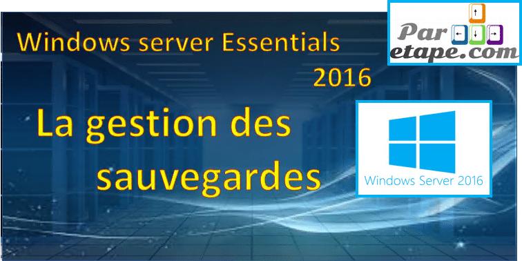 Windows Server Essentials 2016 : la sauvegarde